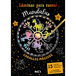 Láminas para rascar Mandalas. Caballos mágicos